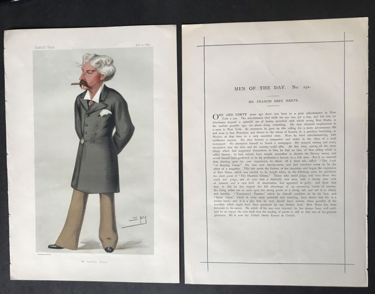 Original Illustration and Profile of Bret Harte published in Vanity Fair Magazine; [Harte, Francis Bret - An Original Vanity Fair ''Spy'' Print]. Brit Harte.