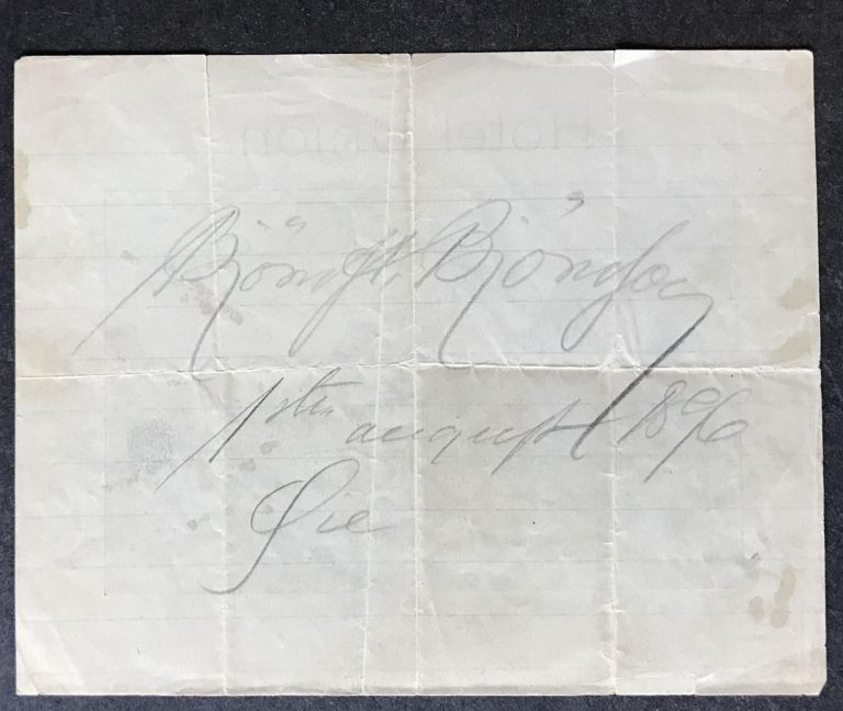 Slip of Paper advertising the Hotel Union in Oye, Norway, SIGNED AND DATED BY BJORN BJORNSON. BJÖRN BJÖRNSON, Bjorn Bjornson.