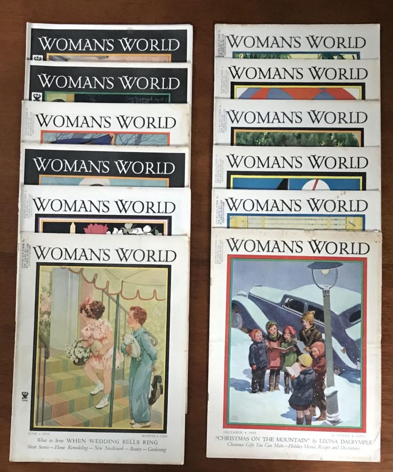 "Girl Campers: Woman's World for 1935 [Rare set of entire year] [Patricia Highsmith's Debut Appearance in Print.] (Note:Highsmith also wrote many other works, none of which are offered here, such as: ""Strangers on a Train"", ""The Talented Mr. Ripley"" and the other Tom Ripley novels, and many other works). Patricia Highsmith."