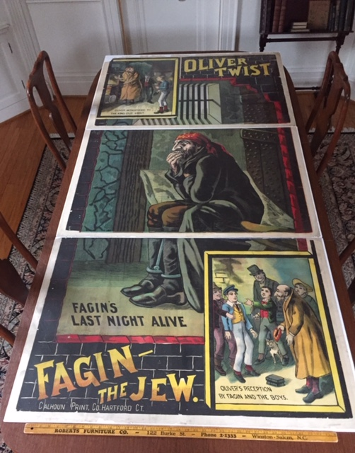 Fagin the Jew; [Oliver Twist]. Charles Dickens, George Cruikshank, Rare Theatre Poster for Oliver Twist Play.