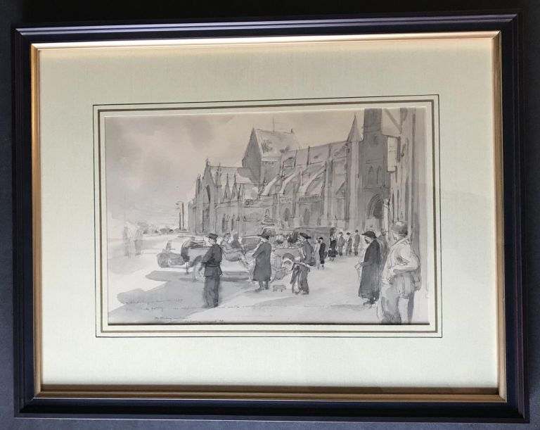 Original World War II painting in Cherbourg France after the Allied victory there [Part of the Battle of Normandy]; Twice Signed and Dated by the Artist. Mitchell Jamieson.