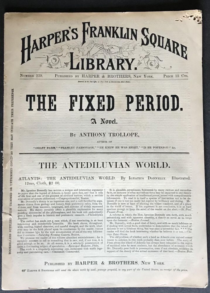 The Fixed Period [EXCEEDINGLY RARE FIRST AMERICAN EDITION]. Anthony Trollope.