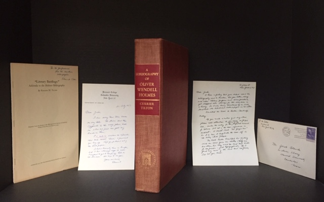 A Bibliography of Oliver Wendell Holmes [Jacob Blanck's Copy, presented to him by the Editor and with relevant additional materials loosely laid in]. Thomas Franklin Currier, Eleanor M. Tilton.
