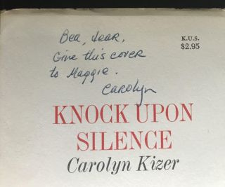 Knock Upon Silence [Rare: Signed copy in a Signed dust jacket; Association Copy]