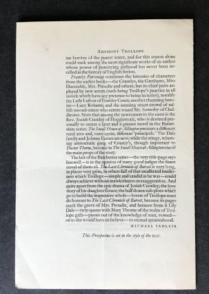 Original Prospectus for The Shakespeare Head Edition of Anthony Trollope The Barchester Novels [An Autobiography; The Warden; Barchester Towers; Doctor Thorne; Framley Parsonage; The Small House of Allington; The Last Chronicle of Barset