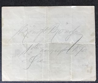 Slip of Paper advertising the Hotel Union in Oye, Norway, SIGNED AND DATED BY BJORN BJORNSON....