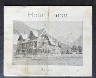 Slip of Paper advertising the Hotel Union in Oye, Norway, SIGNED AND DATED BY BJORN BJORNSON