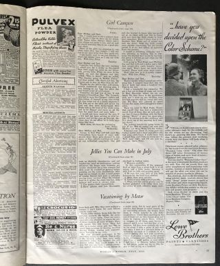 """Girl Campers: Woman's World for April, 1935 [Patricia Highsmith's Debut Appearance in Print.] (Note:Highsmith also wrote many other works, none of which are offered here, such as: """"Strangers on a Train"""", """"The Talented Mr. Ripley"""" and the other Tom Ripley novels, and many other works)"""