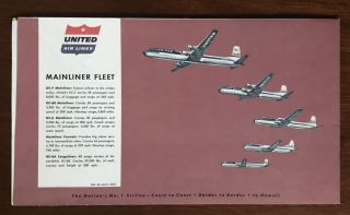 United Air Lines System Map coast-to-coast, border-to-border, and on to Hawaii