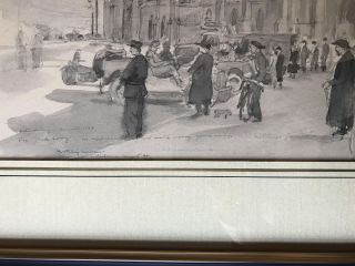 Original World War II painting in Cherbourg France after the Allied victory there [Part of the Battle of Normandy]; Twice Signed and Dated by the Artist