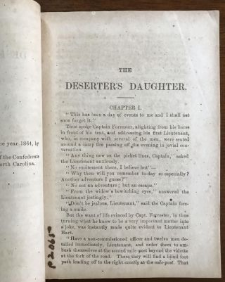 The Deserter's Daughter [a Southern Field and Fireside Novelette, No. 3.]; [A Confederate Imprint]