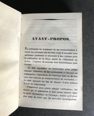 Almanach de Gotha Pour L'Annee 1844 [EXTRAORDINARILY EARLY AND RARE ORIGINAL DUST JACKET -- ONE OF THE EARLIEST KNOWN]