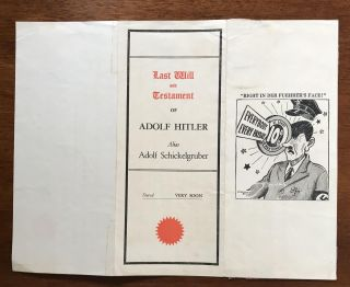 Last Will and Testament of the Kaiser [together with] Last Will and Testament of Adolf Hitler, Alias Adolf Schickelgruber