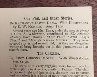 Our Phil, and Other Stories [Complete with Rare Dust Jacket and Publisher's Marketing Card]